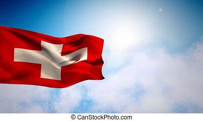 Denmark national flag floating