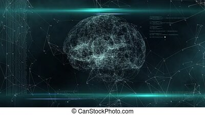 Digital animation of digital brain rotating while surrounded by glowing lines and program codes move in the screen. High quality 4k footage