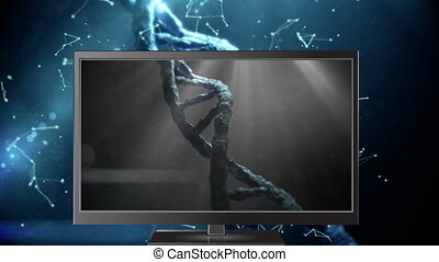 Digital animation of DNA model on the computer monitor display 4k