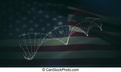Digital animation of dna structure spinning against waving american flag