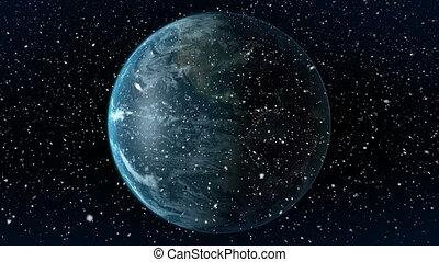 Digital animation of earth globe rotating on black background 4k