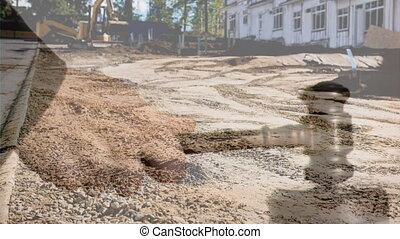 Digital animation of excavator at construction site 4k