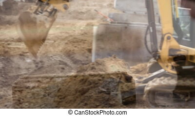 Digital animation of excavator at construction site. Gavel banging on sounding block 4k