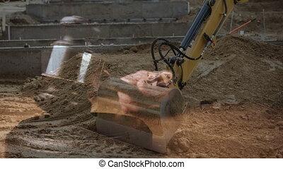 Digital animation of excavator digging soil at construction site 4k