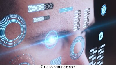 Digital animation of Eye looking at futuristic interface
