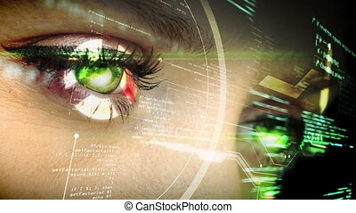 Eye looking at futuristic interface - Digital animation of...