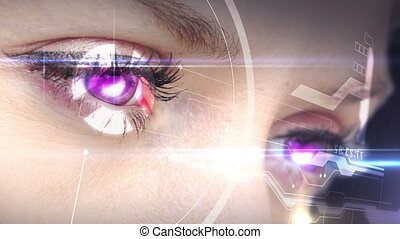 Digital animation of Eyes looking at holographic interface