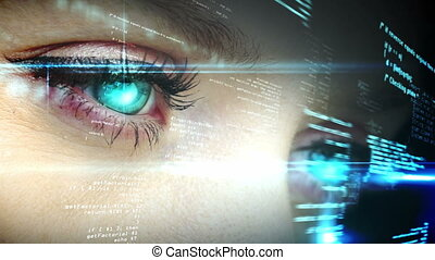 Digital animation of Eyes looking at holographic interface with text