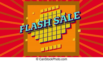 Digital animation of flash sale text over yellow against red radial background. sale discount and retail business concept