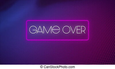 Digital animation of game over text in neon rectangle against multiple purple dots on blue background. video game computer interface concept