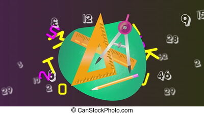 Digital animation of geometrical equipment against changing numbers and alphabets on purple backgrou