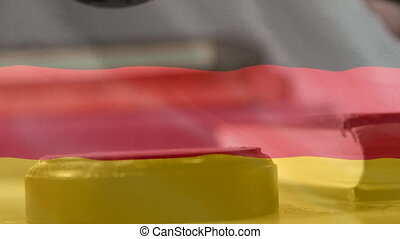Digital animation of Germany flag. Gavel banging on sounding block 4k