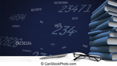 Digital animation of glasses and stack of books against multiple changing numbers on blue background. school and education concept