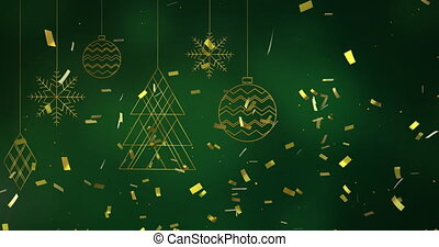 Digital animation of golden confetti falling over christmas decorations hanging against green background. christmas festivity celebration tradition concept