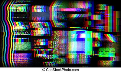digital animation of hd screens showing film and tv related static distortion and countdowns, all content self created