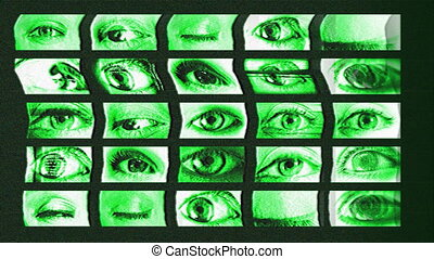 digital animation of hd screens showing different big brother eyes watching, all content self created
