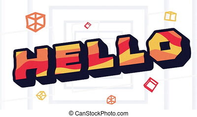 Digital animation of hello text against concentric squares moving on white background