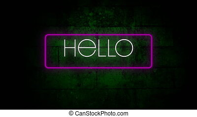 Digital animation of hello text in neon rectangle frame against green brick wall in background. video game computer interface concept