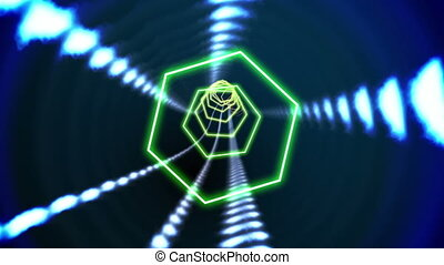 Hexagon blue vortex design on black