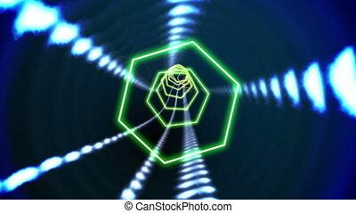 Hexagon blue vortex design on black - Digital animation of...