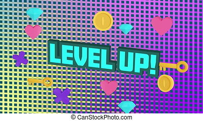 Digital animation of level up text over diamond, keys and heart icons against square shapes on purple background. video game computer interface concept