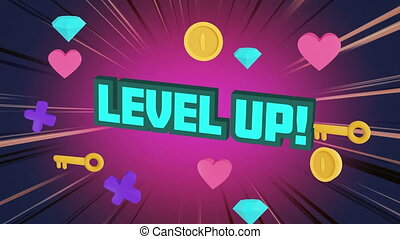 Digital animation of level up text over multiple keys, diamonds and hearts icons moving against purple background. video game computer interface concept