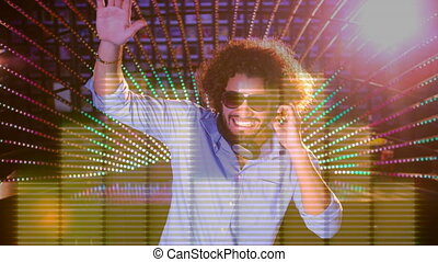 Digital animation of man playing sound mixer in nightclub. Musical notes moving on background 4k