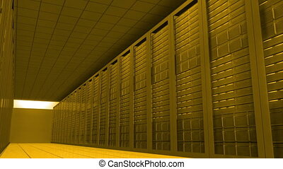 Moving through yellow server room - Digital animation of...