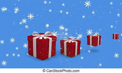 Digital animation of multiple stars falling against christmas gift boxes bouncing against blue background. christmas festivity celebration tradition concept