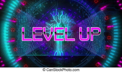 Digital animation of neon level up text over glowing tunnel against black background. computer gaming and technology concept.