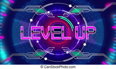 Digital animation of neon level up text over glowing tunnel against blue background. computer gaming and technology concept.