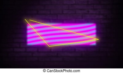 Digital animation of neon triangle shape over rectangle against grey brick wall in background. movement concept digitally generated video