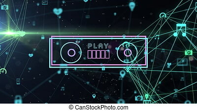 Digital animation of neon vhs tape against globe of digital icons spinning against black background. global networking and technology concept