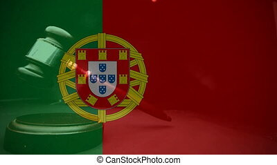 Digital animation of Portugal flag. Gavel banging on sounding block 4k