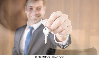Digital animation of real estate agent holding keys. Gavel banging on sounding block 4k