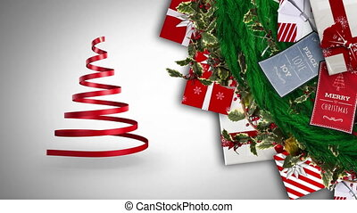 Digital animation of ribbon forming a christmas tree and christmas gifts and cards against grey background. christmas festivity celebration tradition concept