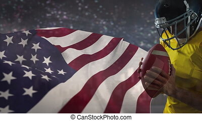 Digital animation of rugby player holding rugby ball opposite to american flag 4k