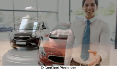 Digital animation of sales executive gesturing in car showroom. Gavel banging on sounding block 4k