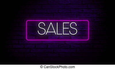 Digital animation of sales text in neon rectangle frame against blue brick wall in background. global retail business concept