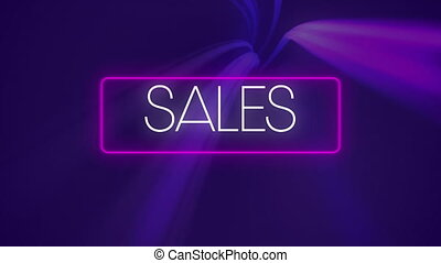 Digital animation of sales text in neon rectangle frame against light trails moving on purple background. global retail business concept