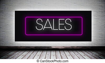 Digital animation of sales text in neon rectangle frame over wooden surface against grey brick wall in background. global retail business concept