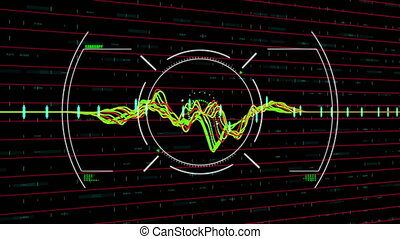 Digital animation of Scope scanning over Financial data processing against black background. Global economy and finances concept