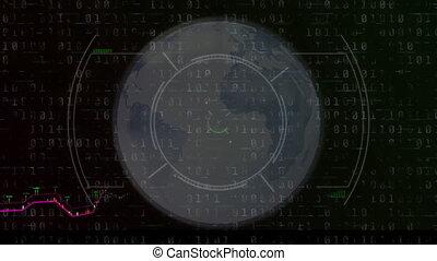 Digital animation of Scope scanning over Financial data processing against black background. Global finance online security concept