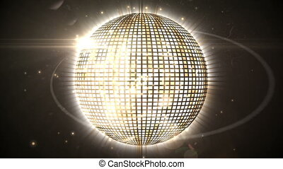 Shiny gold disco ball spinning