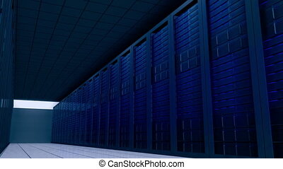 Shot moving through server room - Digital animation of Shot...
