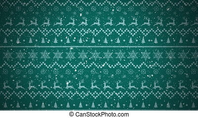 Digital animation of snow falling against christmas traditional pattern with christmas trees, reindeer and stars moving against green background. christmas festivity celebration tradition concept