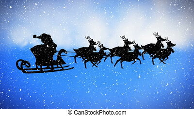 Digital animation of snow falling over black silhouette of santa claus in sleigh being pulled