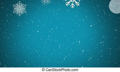 Digital animation of snow falling over christmas star and bauble decorations against blue background. christmas festivity celebration tradition concept