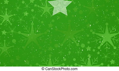 Digital animation of snow falling over christmas star and bauble decorations against green background. christmas festivity celebration tradition concept