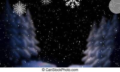 Digital animation of snow falling over christmas star and bauble decorations against winter landscape. christmas festivity celebration tradition concept